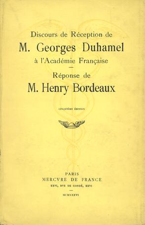 Discours de réception à l'Académie française et réponse de M. Henry Bordeaux