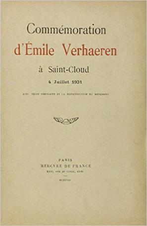 Commémoration d'Émile Verhaeren à Saint-Cloud, 4 juillet 1931
